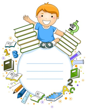 learning materials: A Smiling Boy Surrounded by Various Educational Materials