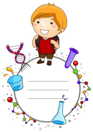 laboratory tools: A Cute Boy Surrounded by Laboratory Tools and Symbols Related to Science