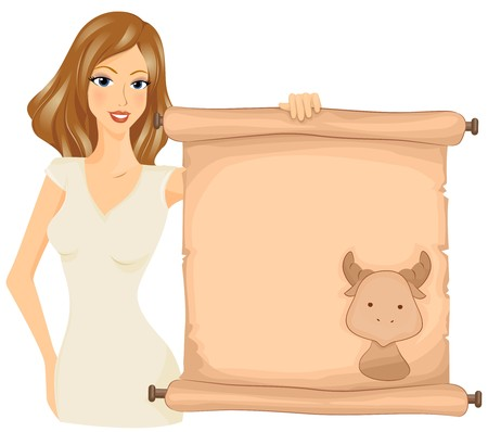 A Taurean Holding a Scroll With the Image of a Bull Printed on it Stock Photo - 8140997