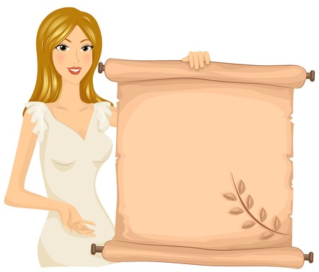 virgo zodiac sign: A Virgo Holding a Scroll With the Image of a Wheat Printed on it Stock Photo