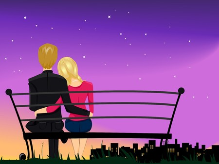 couple dating: Romantic View of a Couple Gazing at the Night Sky While Cuddling