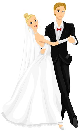 cartoon dance: Romantic Image of Newlyweds Dancing the Waltz
