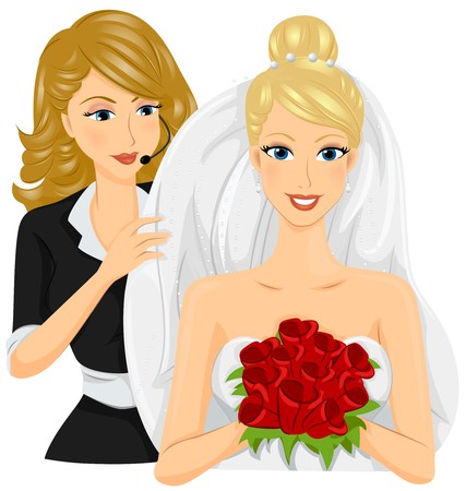 event planner: A Female Wedding Planner Helping a Smiling Bride Holding a Bouquet of Coloful Flowers Fit Her Wedding Veil