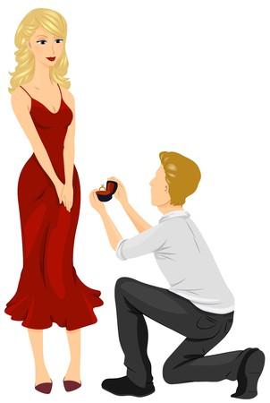 enamorados caricatura: Un hombre bajando de rodillas para proponer a la mujer encantadora quiere casarse  Foto de archivo