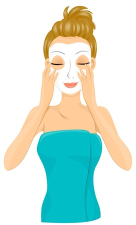 exfoliation: A Smiling Lady Wrapped in a Towel Coating Her Face With a Facial Mask