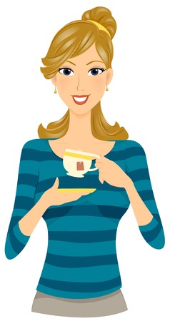 woman drinking tea: A Smiling Woman Poised to Sip a Cup of Tea Stock Photo