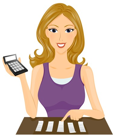 expenses: A Smiling Lady Computing Expenses at Home Stock Photo