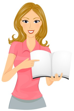 A Smiling Female Teacher Discussing the Contents of a Book Stock Photo - 8140971