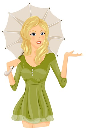 cartoon umbrella: A Seductive Woman Extending Her Right Hand Out of Her Umbrellas Way - Vector