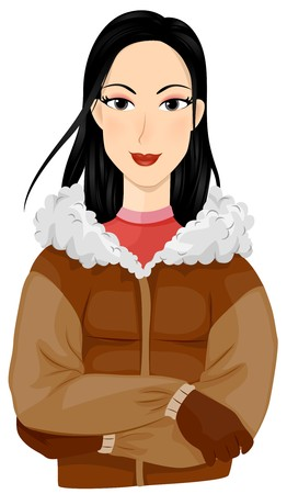 A Smiling Eskimo Dressed in Winter Clothes Standing with Arms Crossed Stock Photo - 8140968