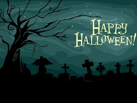 Silhouette of a Creepy Graveyard Design photo