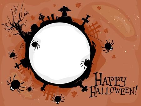Halloween-themed Frame Featuring a Creepy Graveyard Stock Photo - 8141030