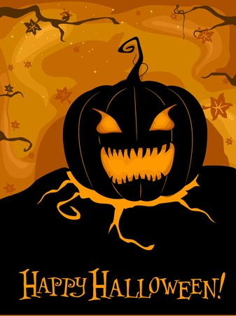 Halloween-themed Design Featuring a Creepy Jack-o-Lantern photo