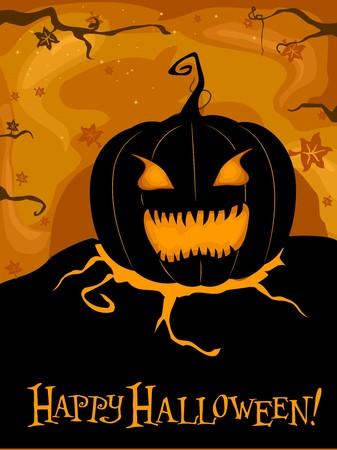 Halloween-themed Design Featuring a Creepy Jack-o-Lantern photo