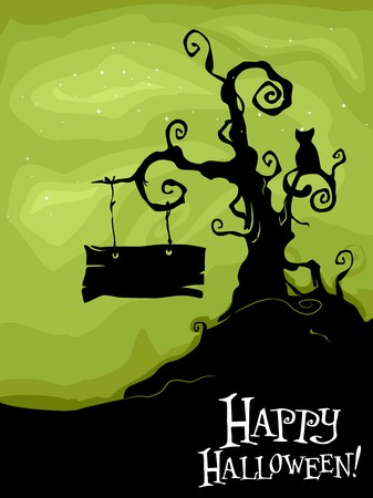 halloween cartoon: Halloween Design Featuring a Dead Tree with a Black Cat and a Sign Board