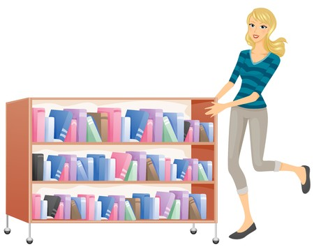 A Woman Happily Pushing a Movable Shelf of Books Stock Photo - 8141018