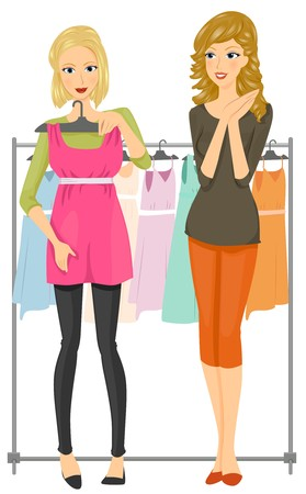 shopping buddies: A Female Teenager Holding a Dress Against Her Body with Her Friend