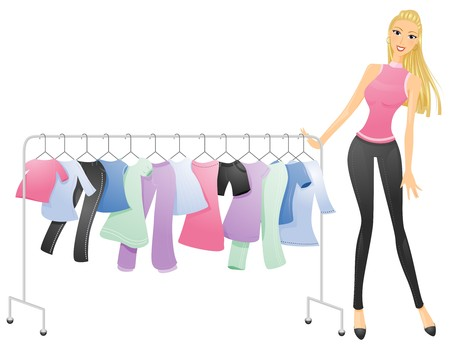 clothing rack: A Curvy Woman Pushing a Movable Rack of Clothes