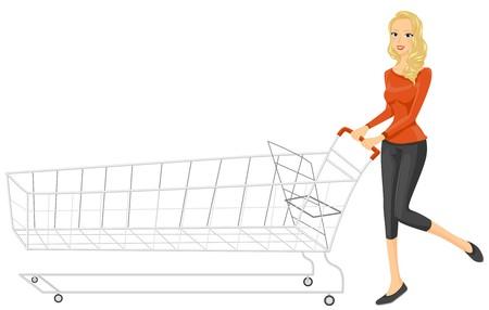 carretilla de mano: Una mujer esbelta empujando un largo Pushcart