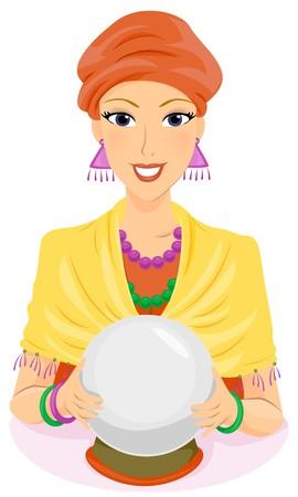 psychisch: Een Fortune Teller Holding haar Crystal Ball