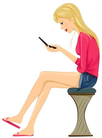 texting: A Female Teenager Sitting While Texting