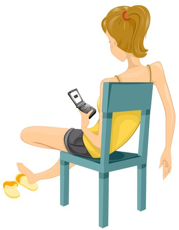 mobilephone: A Female Teenager Texting While Slouching on a Chair