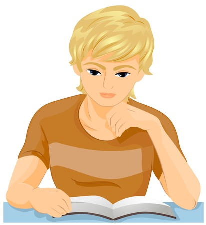 teenagers learning: A Male Teenager Reading a Book