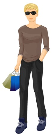 A Male Teenager Walking While Carrying Shopping Bags photo