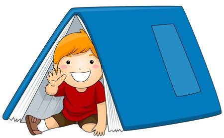 Illustration of a Young Boy Sitting Under a Big Book illustration