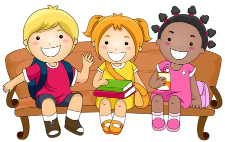 recess: Illustration Featuring Three Cute Little Kids Sitting on a Bench Stock Photo