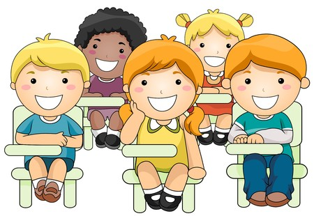 classmate: Illustration of a Small Group of Children Inside a Classroom Stock Photo