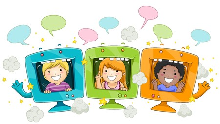 Illustratration Featuring Faces of Cute Little Kids Framed inside a Hollow Computer Monitor Stock Photo - 8230067