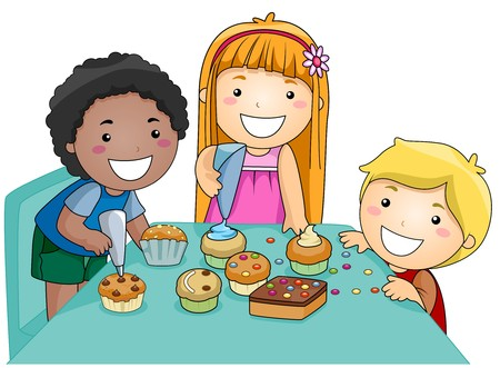 pastime: Illustration of Kids Decorating Cupcakes Stock Photo