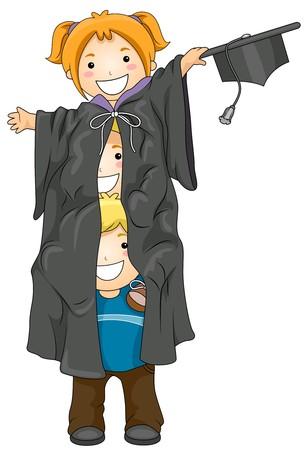 toga: Ilustraci�n con Kids Piled uno en Top de los otros y ocultos detr�s de una toga Foto de archivo
