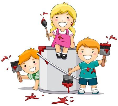 ni�os pintando: Ilustraci�n con ni�os jugando con Paint