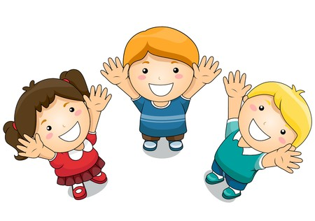 celebrating: Illustration Featuring Kids Raising Their Hands Upwards