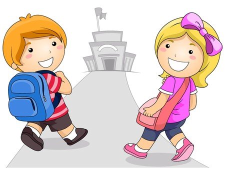 cartoon school: Illustration Featuring a Young Boy and Girl Going to School