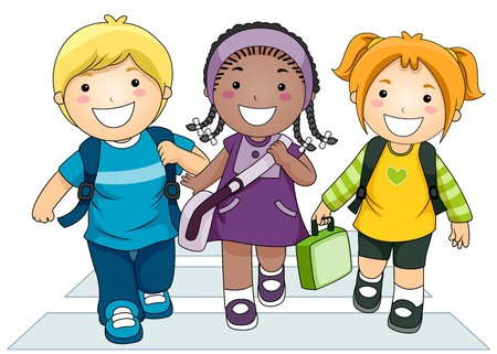 kinder: Illustrazione, caratterizzato da un piccolo gruppo di bambini attraversano la strada sul loro modo di scuola