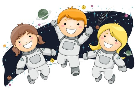 astronauts: Kids Wearing Space Suits floating in Space Stock Photo