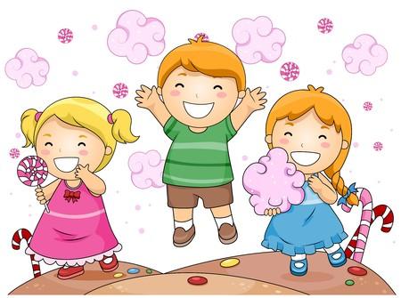 algodon de azucar: Ilustraci�n de Cute Kids Little Fun a tener durante la vagancia vuelta Ecoviaje  Foto de archivo
