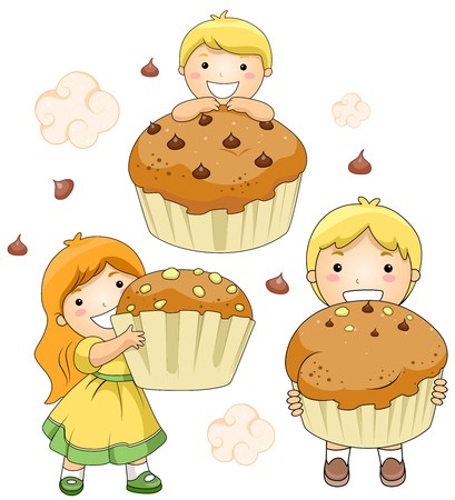 Illustration of Kids and Giant Cupcakes illustration