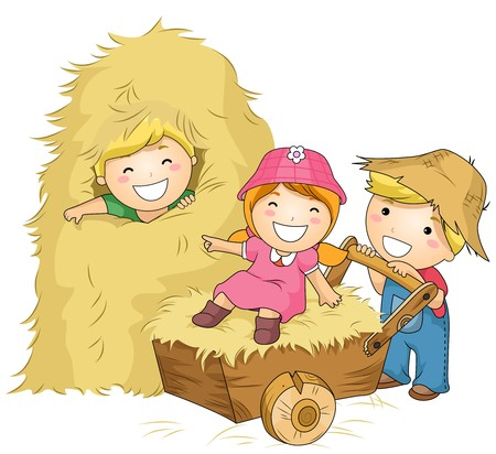 Illustration of Kids Playing with Haystacks and a Wheelbarrow illustration