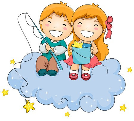 dreamland: Illustration of a Young Boy and Girl Sitting on a Cloud While Fishing for Stars Stock Photo