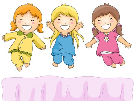 slumber: Illustration of Cute Little Girls Having a Pajama Party