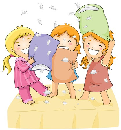 sleepover: Illustration of Cute Little Girls Having a Pillow Fight Stock Photo