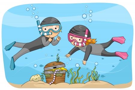 dive: Ilustraci�n de una escena submarina con ni�os buscando el tesoro