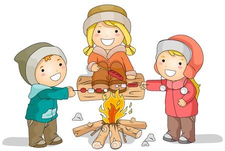 Illustration Avec Saucisses à rôtir Enfants-dessus d'un feu Pendant l'hiver