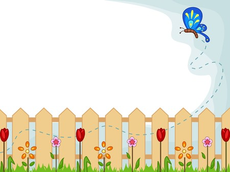 Background Illustration Featuring a Cute Butterfly Checking Out One Flower After Another Stock Illustration - 8230056