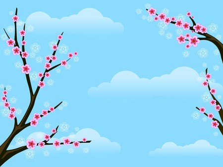 fine weather: Background Illustration Featuring Cherry Blossoms Against the Blue Sky