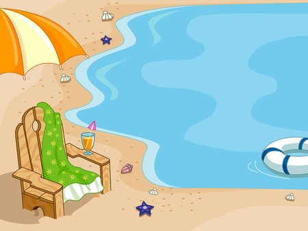 Background Illustration Featuring a Beach Chair Placed Near the Shore illustration